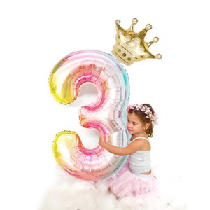 2pcs lot 32inch Number Foil Balloons Digit air Ballon Kids Birthday Party Festival Party anniversary Crown Decor Supplies