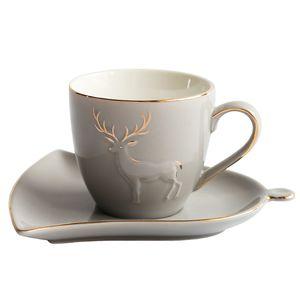 Скандинавский стиль творческий золотой лось керамическая чашка кофе набор бутик Пномпень послеобеденный чай цветок P чашка чая блюдце набор
