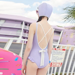 Terno Swiming Mulheres One Piece Swimwear 2019 One Piece Para Swimsuit Full Bikini Coréia Bloco New Sexy Backless Cintura Alta Sólida