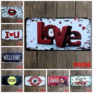 Amor Bem-vindo Coffee Stop Car metal matrícula Vintage Home Decor Tin Sign Bar Pub pintura do sinal Café Garagem metal Arte decorativa