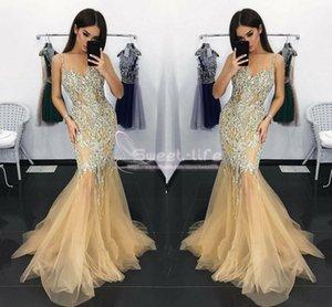 섹시한 크리스탈 Spaghetti Strap Rhinestones Evening Gown 인어 파티 드레스 Mopping Long 섹션 Tiered Skirts 특별 드레스