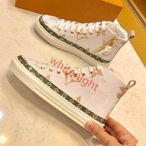 New Ladies Classic Leather Designer Shoes Fashion Casual Stellar hococal Sneaker Womens Famous Luxury Breathable High Top Printing Boots