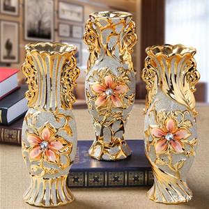 Europe plaqué or gel Vase en porcelaine Vintage avancée Céramique Vase pour salle d'étude Hall d'entrée Maison Décoration de mariage