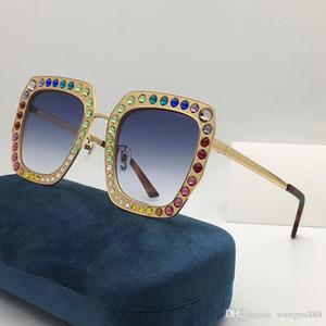 Luxo Mulheres Designer Sunglasses 0115 Frame quadrado do metal Mosaico Brilhante de cristal colorido Diamante Top Quality UV400 Lens vem com caixa original