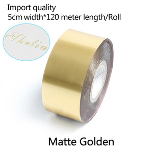 5CM Width*120 Meter  Matte Gold Rolls Hot Foil Stamping Paper Heat Transfer Anodized Gilded Paper for Leather PU Wallet Hot foil stamping