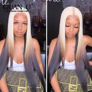 Laranja Vermelho Azul Verde Cinzento parte dianteira do laço do cabelo humano peruca 13x4 Remy brasileira Ombre 3Tones rosa loira colorido roxo peruca por Mulheres