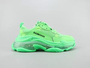 03 Nueva diseñadores de París Triple S 3.0 para hombres, mujeres, zapatillas de deporte negro 17FW Para las mujeres top zapatos planos ocasionales con Clear Sole