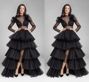 Sexy Black Illusion 2020 Formal Prom Dress Evening Wear Ruffle Tulle Hi-Lo Overskirt High Neck Long Sleeve Stylish Customized Party Dresses