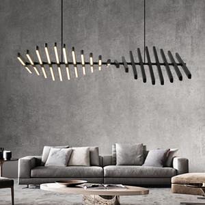 2020 Nordic Lamp Modern Designer Sala Sala de Jantar Chandelier Fishbone Forma Escritório Faixa lâmpada pendurada Luz