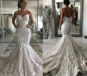 Vintgae Full Lace Mermaid Wedding Dresses Lace Tulle Backless Long Dress With Sweep Train Bridal Gowns Plus Size Bridal vestidos de novia