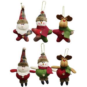 Navidad felpa Adornos de Navidad Decoración colgante de Santa Claus muñeco de nieve del reno de la muñeca del árbol de navidad colgante Holiday Party Decor JK1910