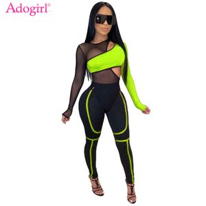 Adogirl Color Patchwork Sheer Mesh Bandage Jumpsuit 2 Piece Set Hollow Out Long Sleeve Casual Romper Tracksuit Club Bodysuits T200528