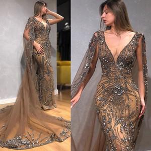 2020 Mermaid Abiye ile Wrap Derin V Yaka El Yapımı Çiçekler Beadings Tül Abiye Sweep Süre Formal Elbise