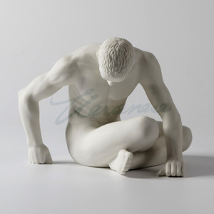 sculpture High Quality Modern ceramic character sculpture nude art man statue abstract thinker figurine gay angel juvenile ornament crafts