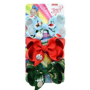 Weihnachten JoJo Haarspange Bunte Schneemann Weihnachtsmann-Druck-Bögen Hairpin bowknot 3pcs / set Babys Haarspange Haarspangen Haarschmuck New