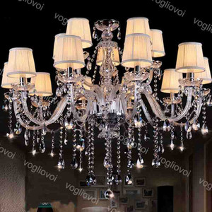 Crystal Chandeliers Europe K9 Crystal E14 With Lampshade For Home Lighting Fixture Suspension Droplight Living Dining DHL
