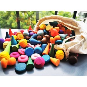 162 / 324pcs bambini in legno di faggio arcobaleno blocchi allentato parti di giocattoli Funghi Honeycomb goccioline albero coni Coni Building Blocks T200622