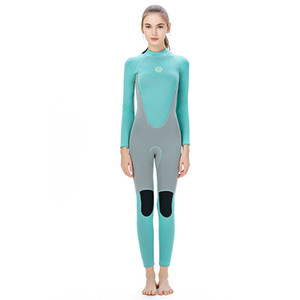 super stretch pour wetsuits dames costume de plongée complet flatlock costume coutures surf natation gris bleu allumettes conception disponibles