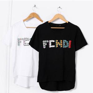 Donne di estate adattano ricamo e fibbie perline fatti a mano sciolto maniche corte magliette cime femminili delle camice di cotone casuali T