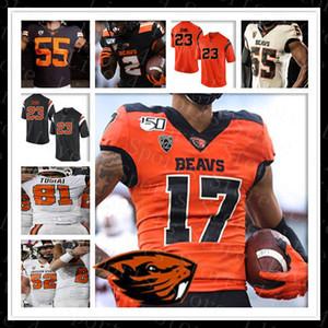 2019 Oregon State sur mesure Beavers College Cousu Trevon Bradford Noah Togiai Jake Luton JeffersonNCAA Football Jersey Noir Orange 150e