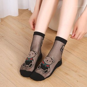 Womens Casual Mid Tude Chaussettes Sheer femmes Designer See Through chaussettes mode Cute Bear imprimés Chaussettes