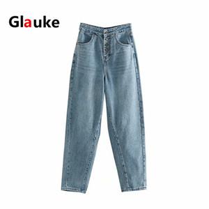 Glauke mujer 2020 Jeans cintura alta pierna ancha ropa con ropa vaquera azul Streetwear Calidad de la moda del Harajuku recta Pan