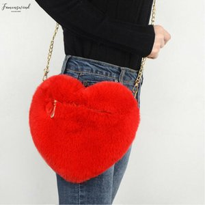 New Women Shoulder Bags Heart Shaped Bag Plush Love Shoulder Hairy Bag Valentine Day Gift By