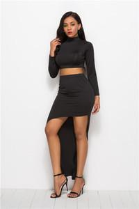 Womens Two Piece Sets Tops Elastic Waist Asymmetrical Dress Black Long Sleeve High New Arrival Women Two Piece Dress