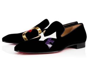 Orijinal Kutusu Lüks Kırmızı Alt Loafer'lar Dandylove Düğün Parti Ünlü Marka Siyah Süet Deri Oxford Marka Gentleman Gelinlik Yürüyüş