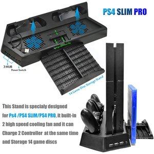 PS4 프로 슬림 수직 듀얼 컨트롤러는 소니 플레이 스테이션 4 (PS4)의 경우 역 3 개 추가 HUB 포트를 충전하여 냉각 팬 스탠드