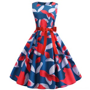 Flower Printing Elegant Party Midi Dress Robe Femme Summer Women Vintage Big Shovels Hepburn Rockabilly Dress Casual Plus Size