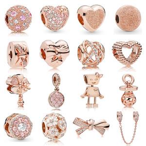 925 or en argent sterling couleur rose Charms avec CZ Coeur Robot Charm Pendentif Charms stoppeurs clip Fit Bracelet original Pandora