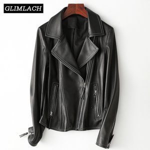 2019 New Ladies Real 양 Leather Jacket Quality Lambskin Black Slim Fit Genuine Leather Coat 옷 깃 오토바이 Outerwear Women