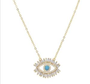 8k позолоченного турецкого зла ожерелья глаз счастливица подарок Багет кубический цирконий бирюзового качество geomstone топ зло ювелирные глаза GD117