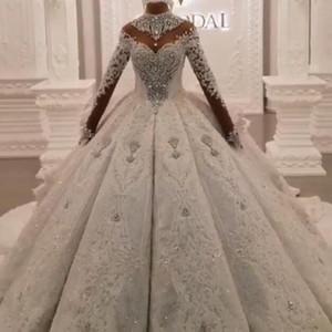Luxuriöse Ballkleid Brautkleider 2020 Dubai Arabisch hohe Ansatz Crystals wulstige 3D SpitzeAppliques Ruched Lange Brautkleider Langarm