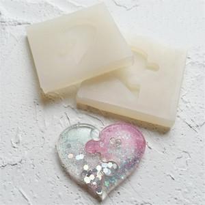 Puzzle a forma di cuore stampo in silicone casting amore resina epossidica stampo per gioielli fai da te in argilla polimerica pendente che borda decorazione