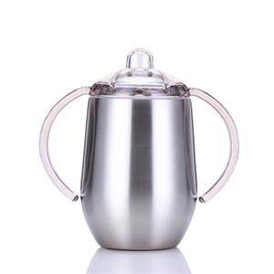 10oz taza de Sippy Beber Botella de agua con aislamiento Acero inoxidable Vaso con la botella manijas Leche Alimentación del recién nacido A03 Botella