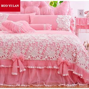 Rosa Branco coreano Princesa Bedding Set 4pcs Lace Ruffles lençóis saia da cama edredom colcha de casamento rainha do rei Saco do presente