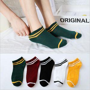 Çorap Yaz Şeker Renk Gemi Çorap Çizgili Katı Görünmez Çorap Casual Kısa Tekne Çorap Pamuk Çorap Terlik calcetines 5Pair / Lot CD6133
