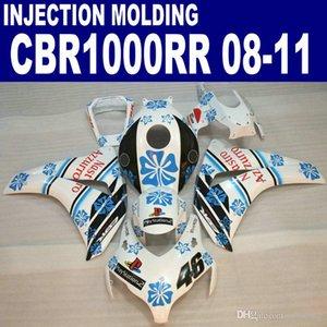 Впрыск OEM для HONDA CBR1000RR комплект обтекателей 2008 2009 2010 2011 черный синий белый CBR 1000 RR пластиковые обтекатели 08 09 10 11 #U22