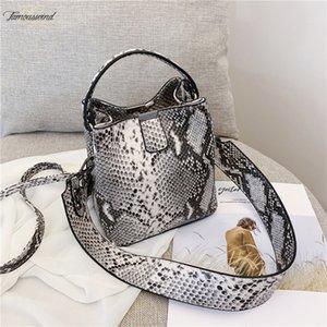 Mode imprimé serpent Bucket Sacs Femme sauvage Sac bandoulière Serpentine motif Sac Vintage Ladies Messenger Sacs à bandoulière