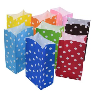 5 10pcs Polka Dot Paper Bag Multicolor Candy Snack Stand Up Bags for Wedding Party Kids Favor Birthday Gift Wrapping Supplies 75