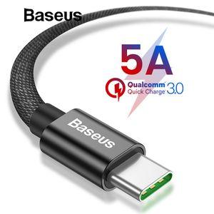 Baseus 5A Super Quick Charge Tipo-C cabo USB para Huawei companheiro de 20 2A pro rápido cabo de carregamento para Samsung Galaxy nota 9 S9 S8 mais