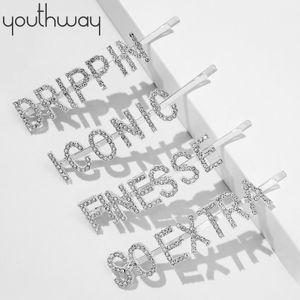 Nupcial de cristal Rhinestone pavimentada Carta Cabelo Pins Nenhuma Deslize Glitter Metal Prata Cabelo Nome Palavra clipe Acessórios