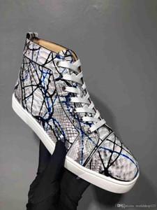 İtalya Erkekler Sneakers Kırmızı Alt Yüksek Ayakkabı Gerçek Deri Python Graffiti Aşıklar Kırmızı Taban Boş Sneakers Partiyi Tops