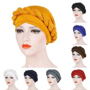 SANWOOD Fashion Solid Color Braid Muslim Women's Turban Hat Chemo Beanie Cap Headwrap Headwear