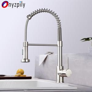 Primavera escovado Kitchen Sink Faucet Pull Down Pulverizador Bico Single Handle Faucet Mixer Hot Fria Stainless Steel T200423 Modern
