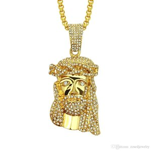 Hip Hop Jesus Pendant & Necklace Vintage Gold Color Crystals Cluster 76cm Chain Necklace For Men Women Jewelry Bijoux