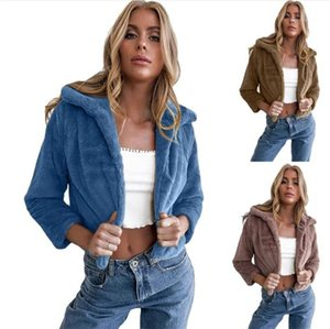 Designer de inverno mais cor espessa cor sólida manter quente curto outwears fêmeas moda casual casacos womens lapel pescoço aberto ponto aberto casaco
