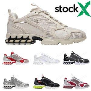 Stussy x Nike Air Zoom Spiridon Caged mens des chaussures scarpe da corsa, argento metallizzato Nero Triple bianco puro platino donna degli uomini scarpe da ginnastica Allenatore